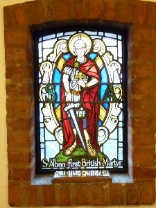 St Alban's   stainglass window 2 in Church Foyer