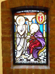 St Alban's stainglass window 3 in Church Foyer