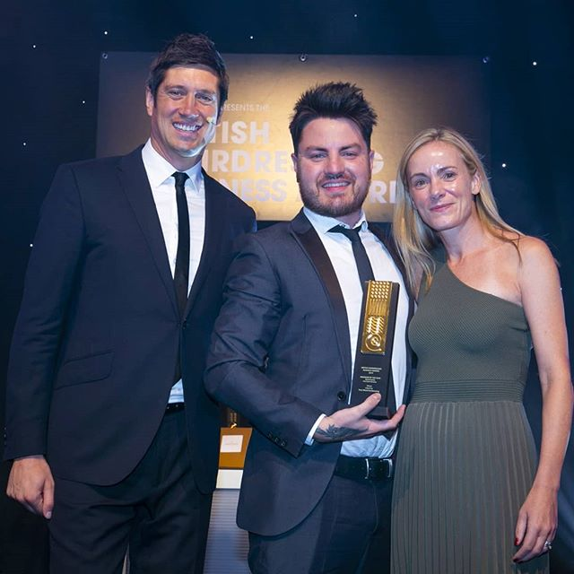 The milestone moment Liam (@liambradleyhair) took to the British Hairdressing Business Awards stage to claim his national Manager of the Year trophy! 🏆 Swipe right 👉 for a video of his acceptance speech 🎉 • • • #hjloves #bhba #britishhairdressing #goldwelluk #iamgoldwell #portsmouth #southsea #hampshire #hampshiresalon #modernsalon #awards #hairsalon