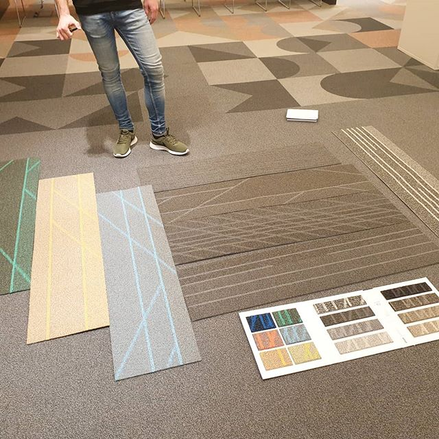 New product with @shawcontract looking at Active new plank carpet tile as always thanks @arkell57 #design #boldcolours #workplace #makingworklive