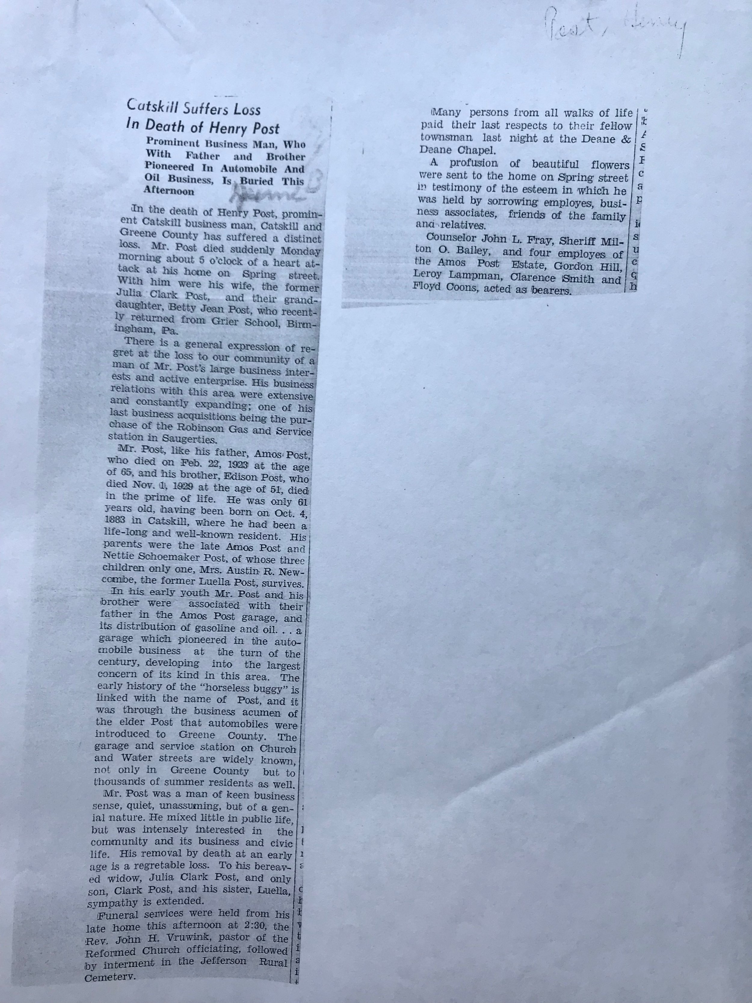 Henry Post's Obituary