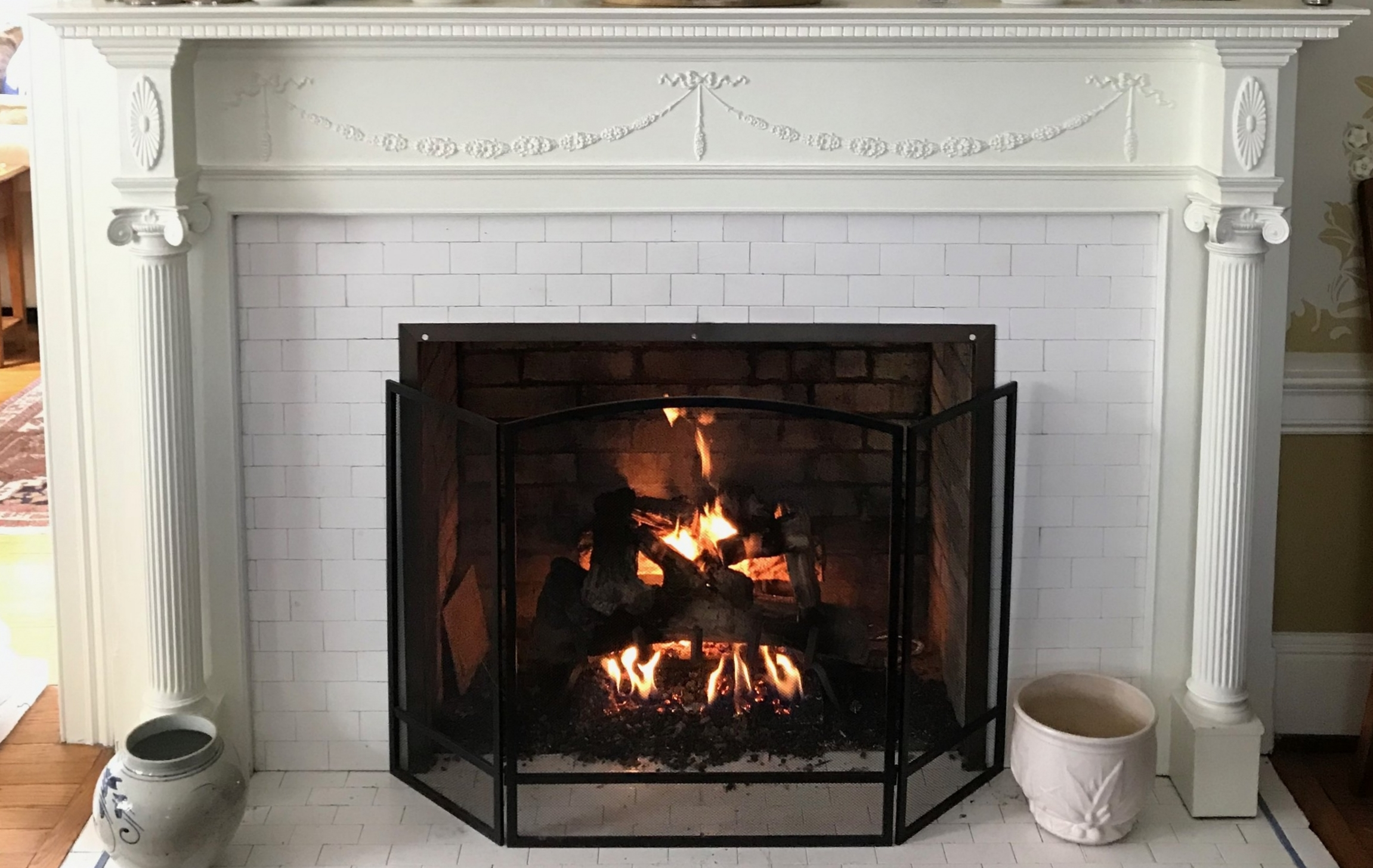 Relax By The Fire With A Glass Of Wine -