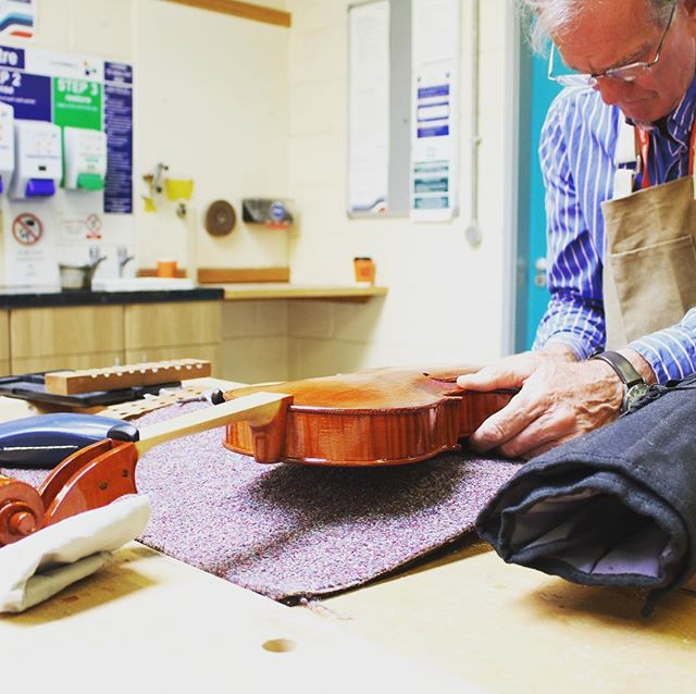 Richard working on fitting the endpin to his viola. — Applications for studying stringed instrument making this September at Merton College, London are now open. For more info get in touch or visit south-thames.ac.uk