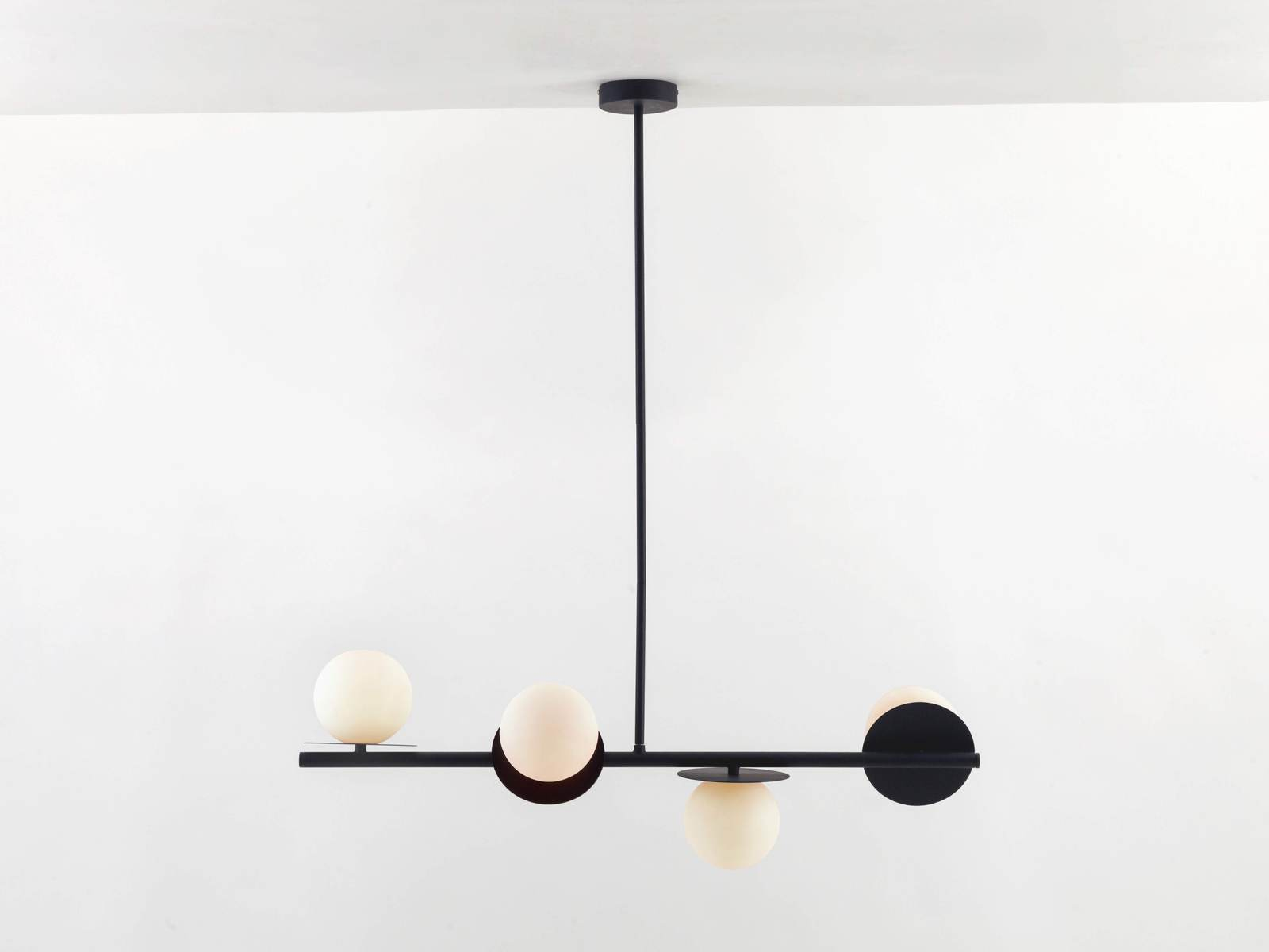 Opal disk ceiling light in charcoal