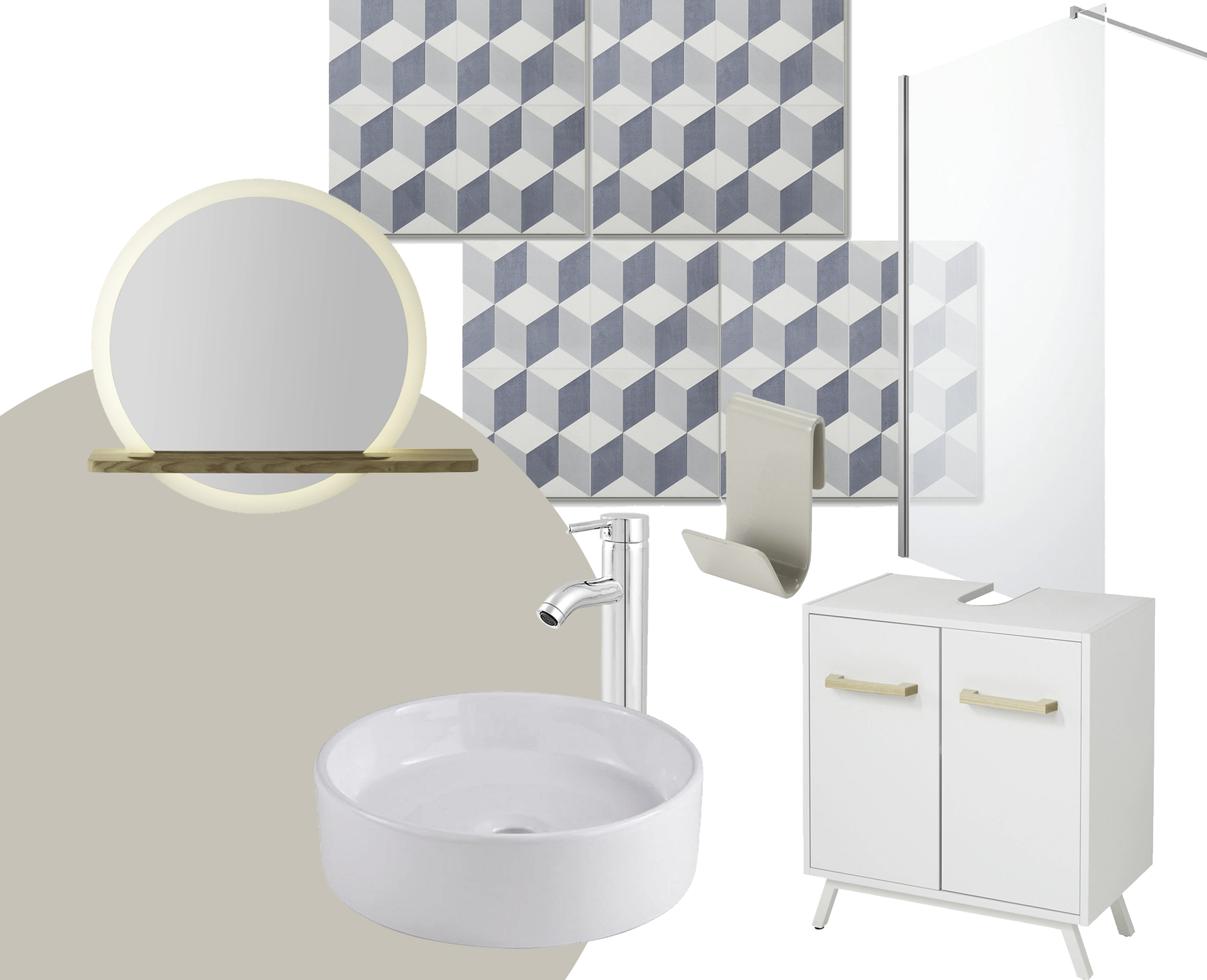 From left to right: GoodHome bathroom paint in Cancun; GoodHome Adriska mirror; GoodHome Scalea basin; GoodHome Poprock vinyl tiles; GoodHome Hoffell tall basin mixer; GoodHome Amantea storage hook; GoodHome Ladoga basin unit; GoodHome Beloya shower screen