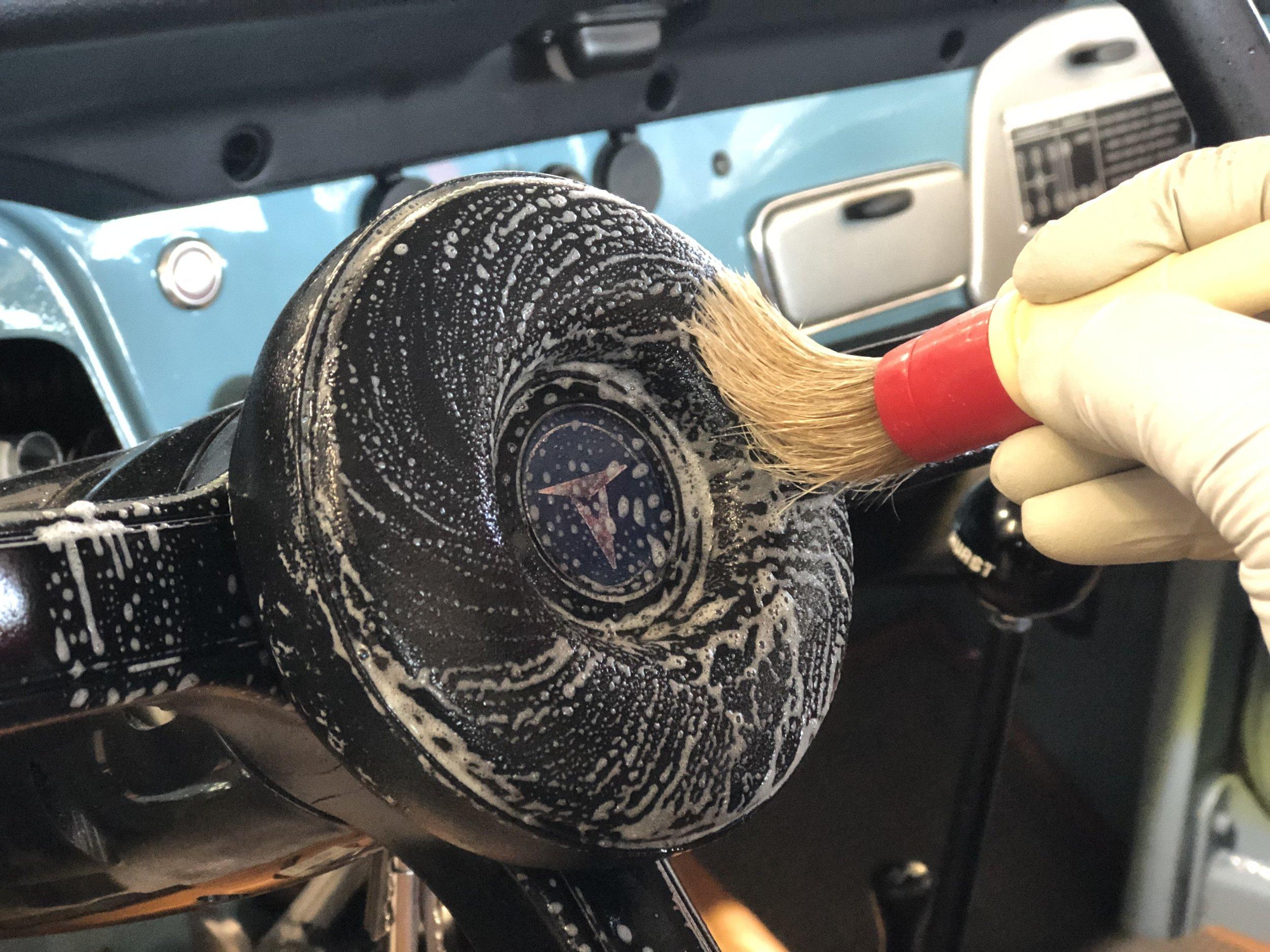 Cleaning Car Streeing Wheel.JPG