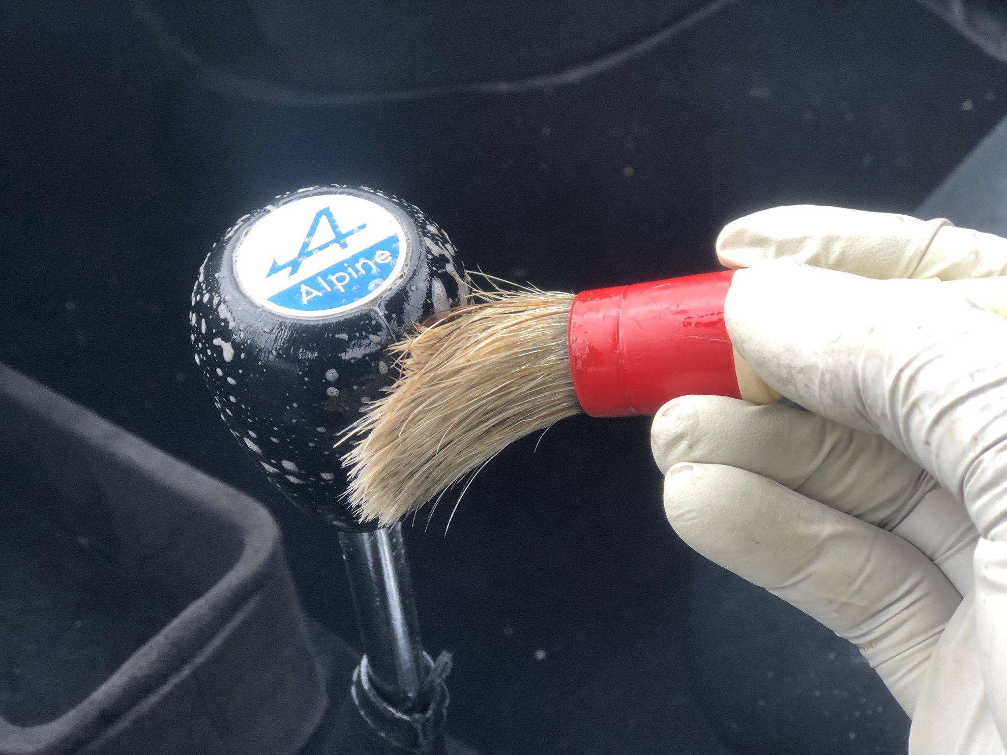 Cleaning Leather Shift Nob On Car.JPEG