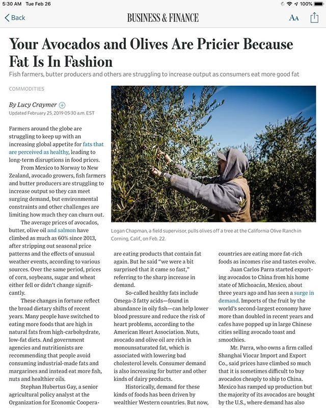 """Interesting article in todays WSJ... Prices of Avocados, Salmon, Olive Oil and Butter have RISEN 60% since 2013. Basic economics?... demand/ supply determines prices?...while prices for easily consumed and packaged corn, wheat, soy and SUGAR have DECREASED. Hmmmm 🧐. At PrimalMed, we educate and advocate. We are excited that more and more folks are getting the message....to incorporate healthy fats in their diets and are """"just eating real food."""" But what about those who struggle to afford the nonsubsidized commodities? If processed sugar laden industrialized packaged frankenfoods are convenient and cheap, and continue to get cheaper... well.. it does not portend well for the growing """" diabesity"""" crisis in America and abroad. FOOD FOR THOUGHT🧐🧐🧐🧐🧐 #bethechange #nutrition #health #healthyfood #coffee #ketogenic #ketogenicdiet #paleo #primal #makepositivitylouder #avocado #teachersofinstagram #integrativemedicine #exercise #functionalmedicine #jerf #lowcarb #lchf @nutritionwellnessllc @primalhealthcoach @wsj @nytimes @marksdailyapple @marksissonprimal @paleofx @kion @ryanplowery @ketogeniccom @ninateicholz @davidperlmutter @davidgoggins @killinitketo @fatissmartfuel @thefatemperor @noragedgaudas @tednaiman"""