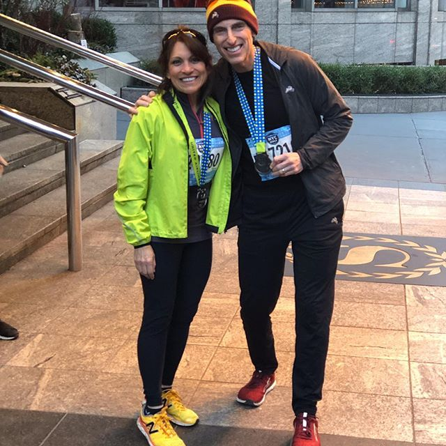 """Where is @primalmed? With family and 25,000 other runners at the #unitednychalf marathon @unitednychalf. We enjoyed a fun chilly 13.1 mile run from Prospect Park #brooklyn to Central Park #centralpark #newyorkcity and best of all, greeted by family.. Ally, Jon and @hudson.metzger at Mile 12. """" Do WHAT you love with WHOM you love """" 🏃♀️😘☕️ #family #running #goldendoodle #coffee @kion @primalhealthcoach @paleofx @nutritionwellnessllc"""