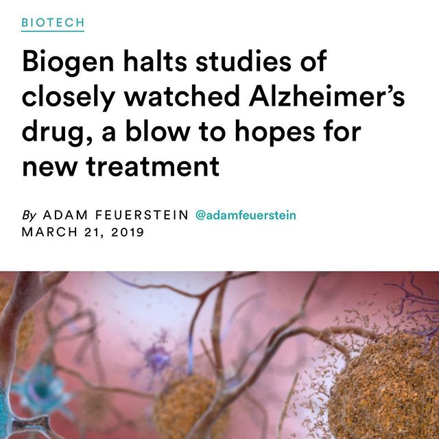 """@primalmed is NOT surprised....Another blow to the Beta Amyloid hypothesis. Biogen and Eisai halted Phase 3 clinical trials of Aducanumab, a pharmaceutical drug that attempts to remove beta-amyloid protein fragments.  This research is based on the hypothesis that Beta Amyloid proteins are the CAUSE  of dementia and Alzheimer's, rather than considering that they are the RESULT of the underlying damage.  Biogen stock dropped 29% yesterday erasing $16 billion in market value on this news. Interesting that all research attempts continue to target the beta amyloid hypothesis and Eisai announced today.. just ONE day later that they are continuing with yet another phase 3 trial for yet another """"beta amyloid drug"""" called BAN2401. Why? Why? Why?  The only intervention so far proven to help delay the onset of mild cognitive impairment and improve symptoms is EXERCISE 🏃♀️🏋️🧘♀️☕️🚴♂️ #exercise #running #walk #alzheimers #crossfit #oliveoil #mediterraneandiet #family #avocado #paleo #foodismedicine #jerf #functionalmedicine #lchf #keto #coffee @healthcoachradio @drdalebredesen @kimerakoffee @purity_coffee @davidperlmutter @tuitnutrition @paleofx @maxlugavere @kion @primalhealthcoach @nutritionwellnessllc"""
