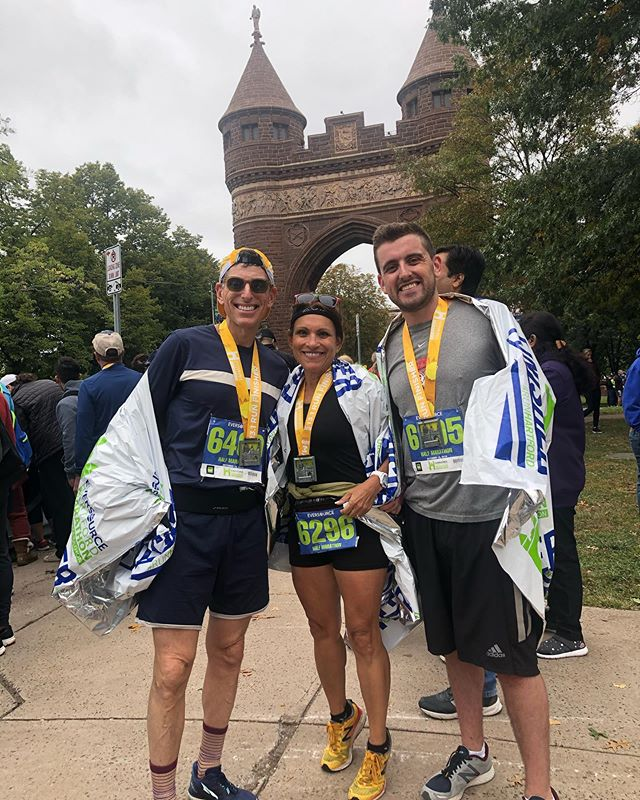 """At PrimalMed®️we celebrate challenges, grit, determination - and accomplishments.  Where was PrimalMed®️yesterday? With son Jon at the Hartford Half Marathon.. his first! CONGRATULATIONS on a job well done!!! Running a half marathon is in fact a metaphor for all of the uphills we face in life... but what does it take? ➡️ Challenging oneself with uncomfortable tasks to test our physical and mental strength...this helps us grow. ➡️Grit...the passion, perseverance and courage to show the strength of your character to set goals and follow through. ➡️Determination...the attitude, self-awareness, assertiveness, focus ... to take charge, develop a strategy and be firm in your goals.  Jon hada plan...gamed it out, anticipated the outcomes, embraced the sore muscles and fatigue that came along with hard work - but all worth it to get across that finish line.  What is the goal YOU want to achieve... today, tomorrow, next year?  Today's Primal Prescription®️ is for YOU to embrace the productive discomfort that in the end allows you to be """"ever better"""".#running #run #family #halfmarathon @primalhealthcoach @marksdailyapple @kion @apeironme  @_hmf_events"""