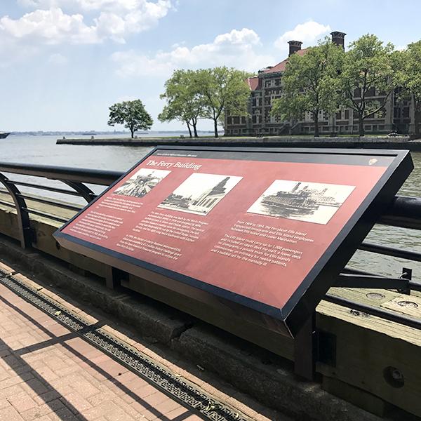 Ellis Island rail sign