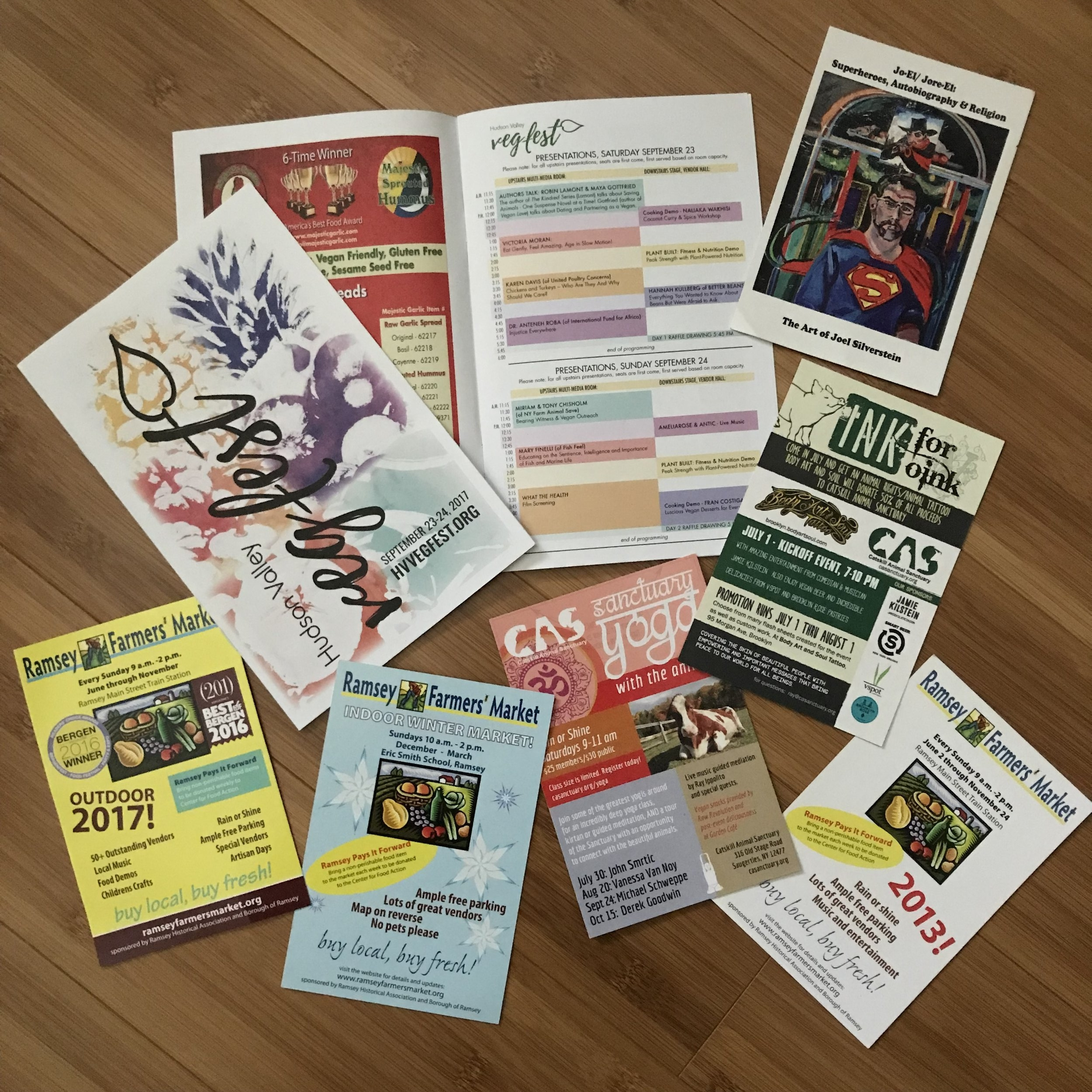 Postcards and pamphlets