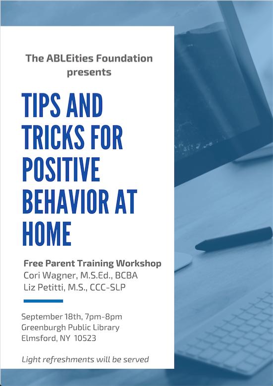 Flyer for upcoming free parent training workshop