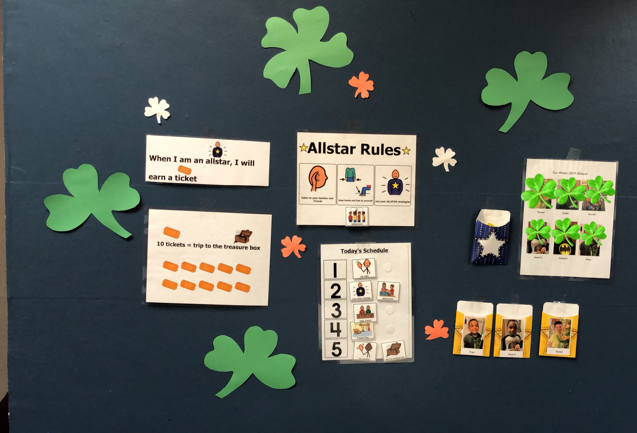 Our Allstar wall was made festive with some shamrocks!