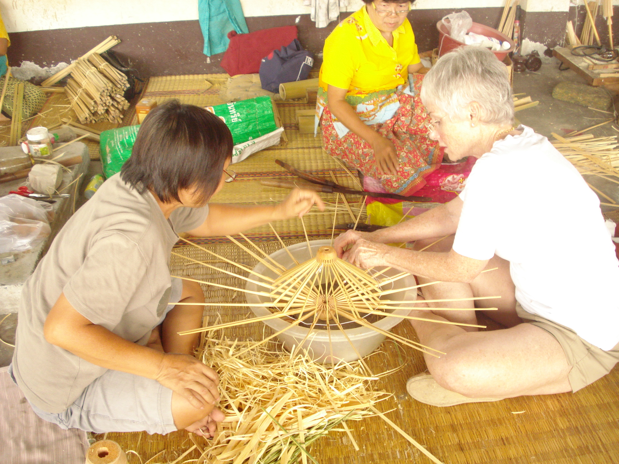 Our Founder, Pamela Zonsius making a BRELLI in Chiang Mai, Thailand.