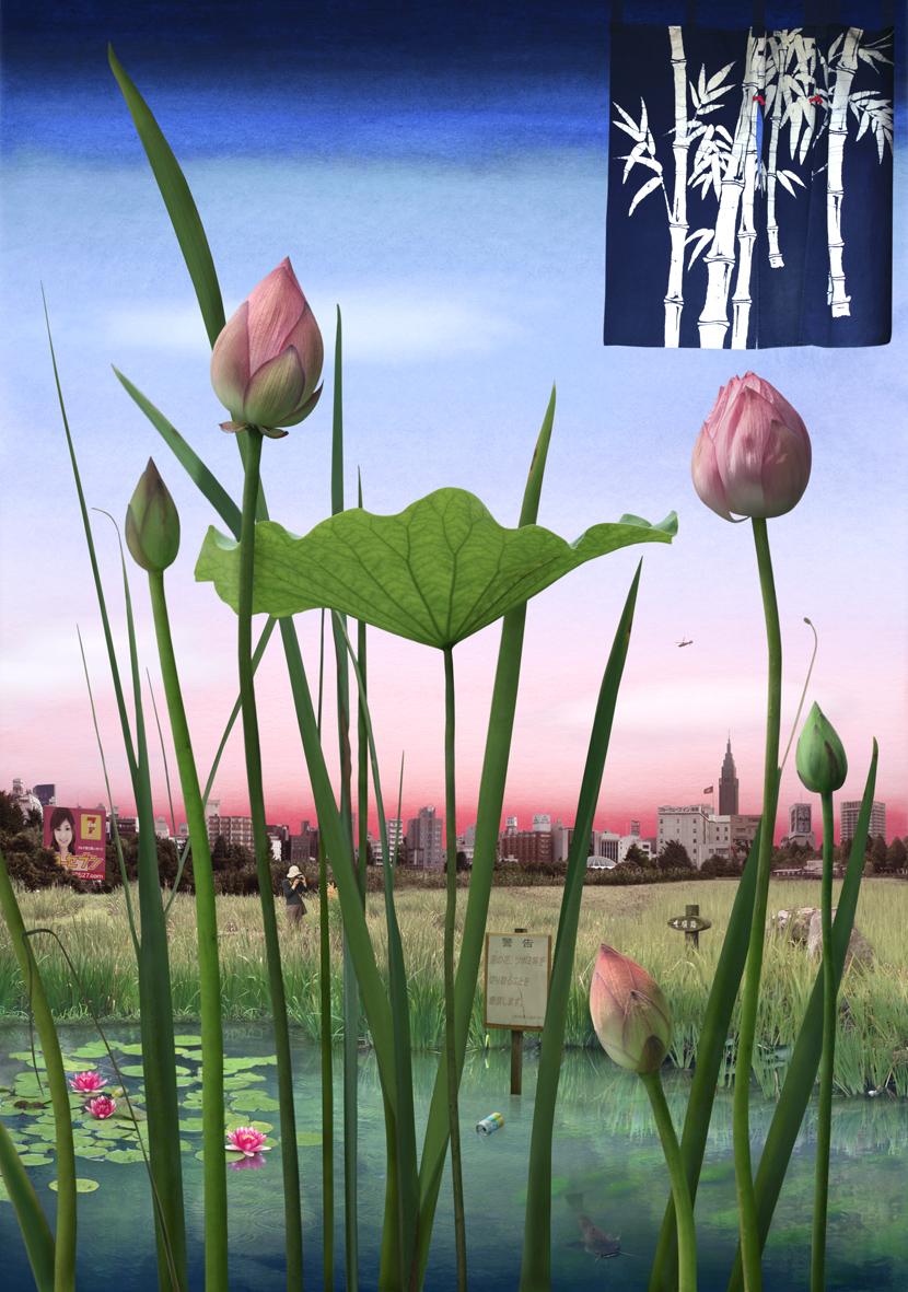 Tokyo Story 1 Lotus Garden (after Hiroshige)