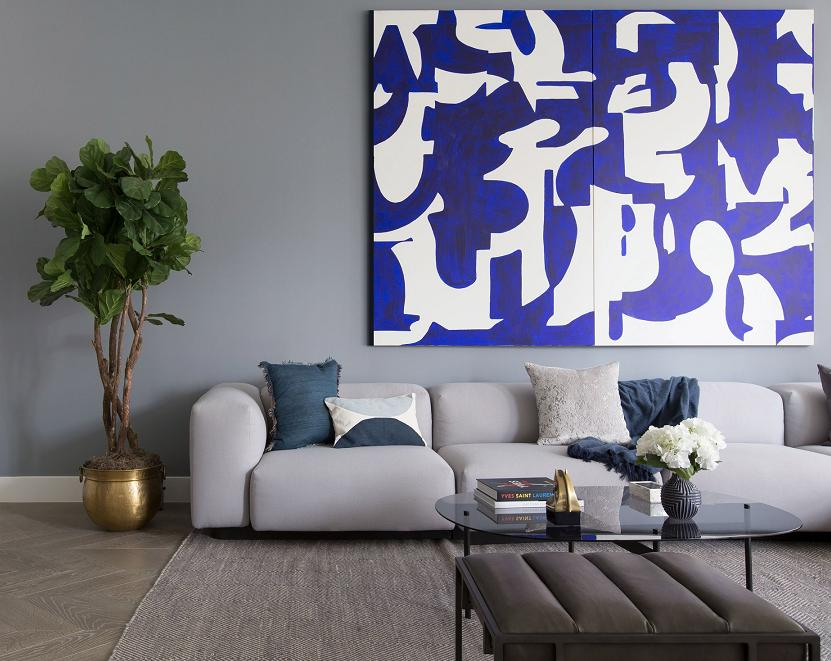 Brass Plant Pot, Painting & Sofa.JPG