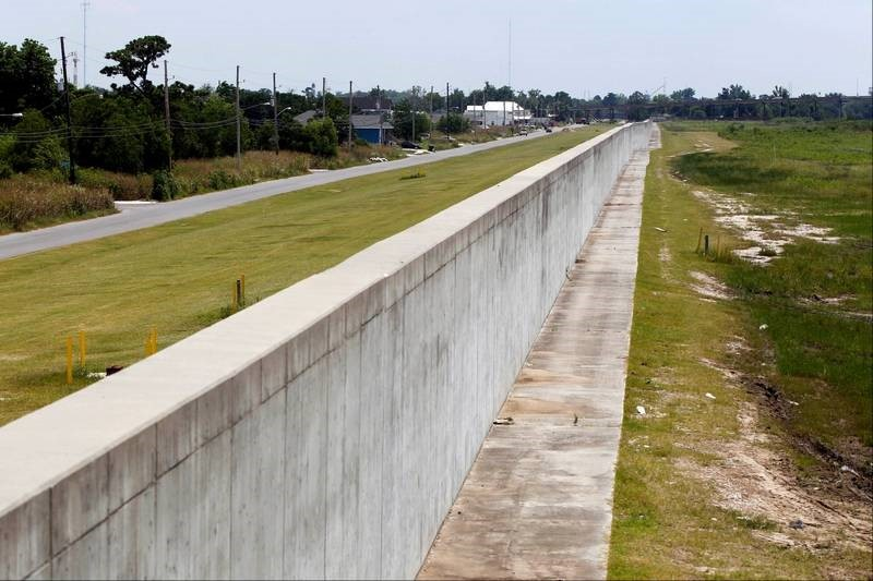Flood Walls in New Orleans with raised streets
