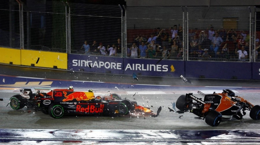 The carnage at turn 1 left the hearts of many Ferrari fans broken