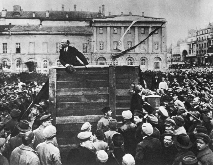 Vladamir Lenin at a rally in St Petersburg in 1917
