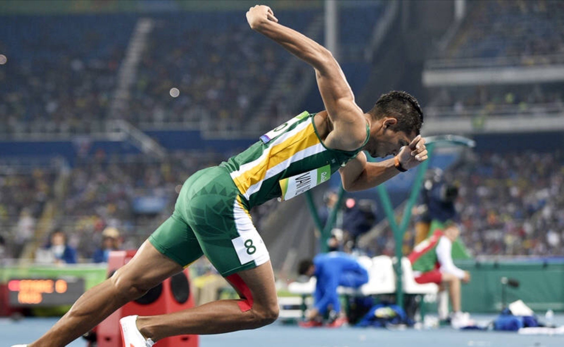 Wayde van Niekerk setting off to break the 400m world record at the Rio Olympics in 2016.