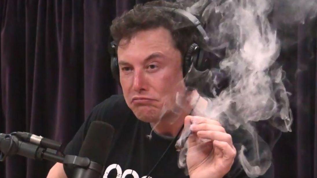 Elon Musk clearly smoking marijuana