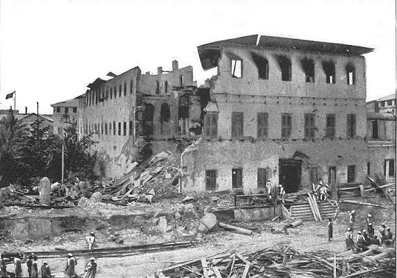 The Sultan's palace took considerable damage during the 38 minute period and the subsequent fire, which was responsible for most of the 500 Zanzibari casualties.