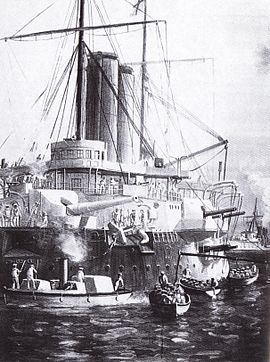 British gunboats such as the HMS St George and the HMS Philomel were extremely dominant, establishing the British navy as a key method of controlling the empire.