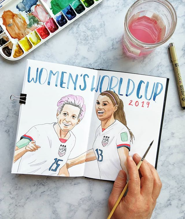I'm not a big sports fan, but watching the US women's team win the World Cup today was pretty dang awesome. These women are such an inspiration, and I'm grateful I get to live in a time when female role models can be this badass!  Also, I just really, really wanted to paint @mrapinoe's hair. Can you blame me? 💜  References taken from screenshots of previous games. Watercolor by me. Featuring #meganrapinoe and #alexmorgan @alexmorgan13 . . . . . #womensworldcup2019 #uswnt @uswnt #watercolor #artjournal #artjournalinspiration #watercolordaily #watercolorandink #drawing #artstagrams #gratitudejournaling #grateful
