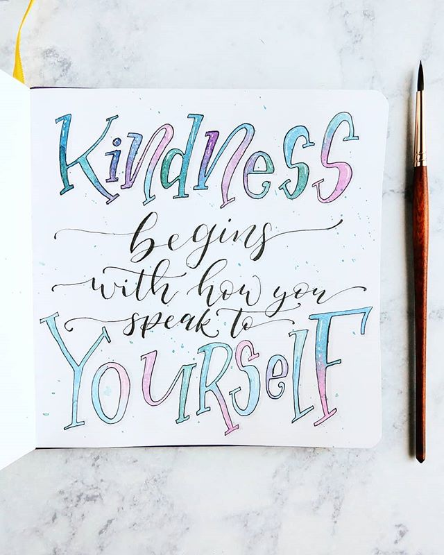 """""""Kindness begins with how you speak to yourself."""" This is an affirmation I've been catching myself thinking a lot lately -- a gentle reminder that self-talk is just as important as how we talk to others. When we treat ourselves with kindness, it naturally spills over in all that we do.  What's one kind thing you want to say to yourself? Drop it in the comments! . . . . . . #selfcare #selftalk #mantras #affirmations #gratitudejournaling #gratitudereminder #bekind #bekindtoyourself #handletteredquote #handlettering #watercolorlettering #tyedyelettering #kindnessquotes #wordstoliveby #feelgoodquotes #selflove"""