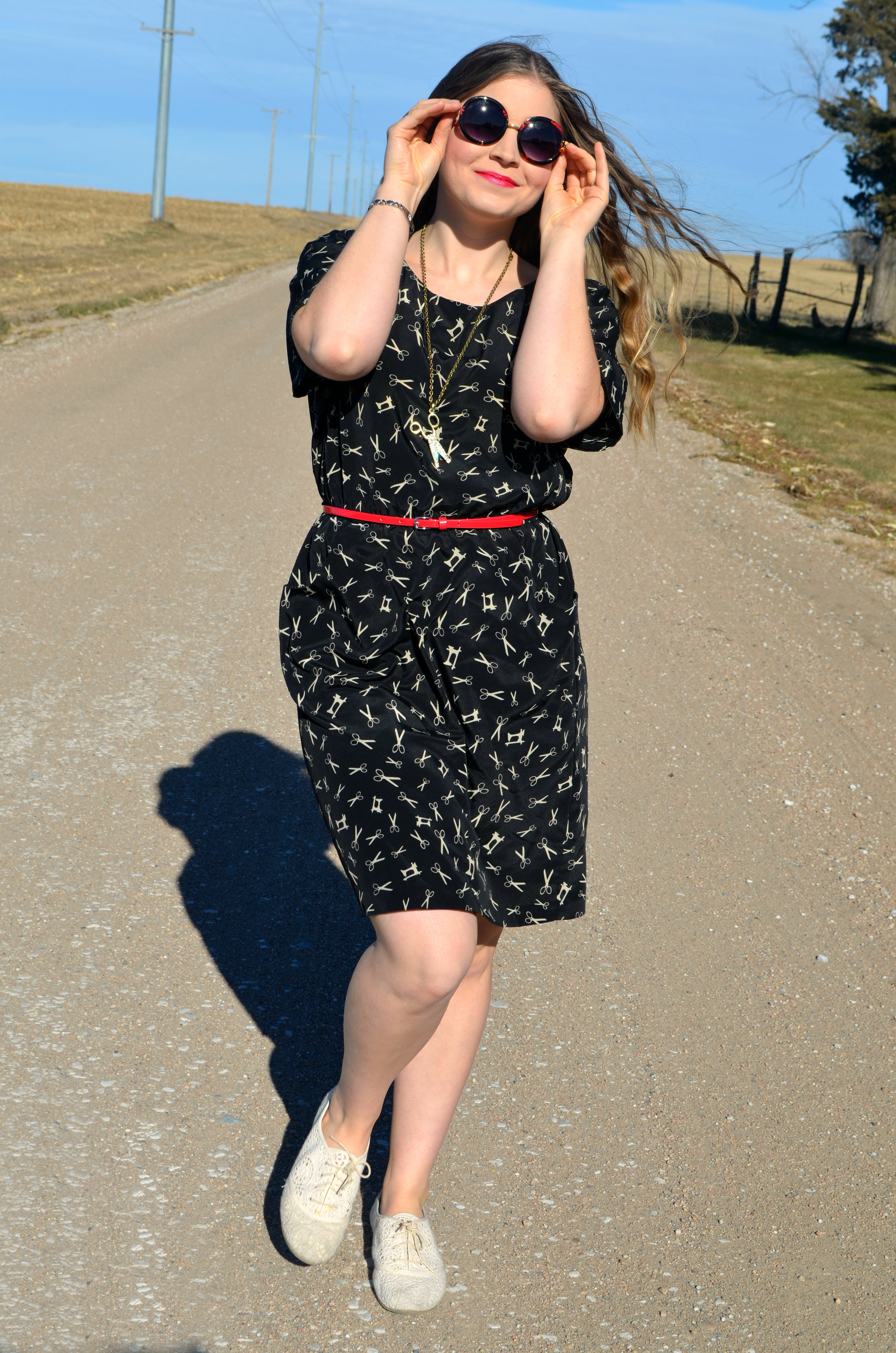 Dress: Goodwill / Belt: Thrifted / Necklace: Nebraska State Fair Booth / Shoes: Payless / Sunnies: Torrid