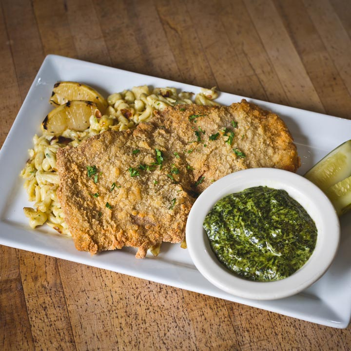 The Berghoff Restaurant serves the best German food in Chicago, including favorites like Weiner Schnitzel