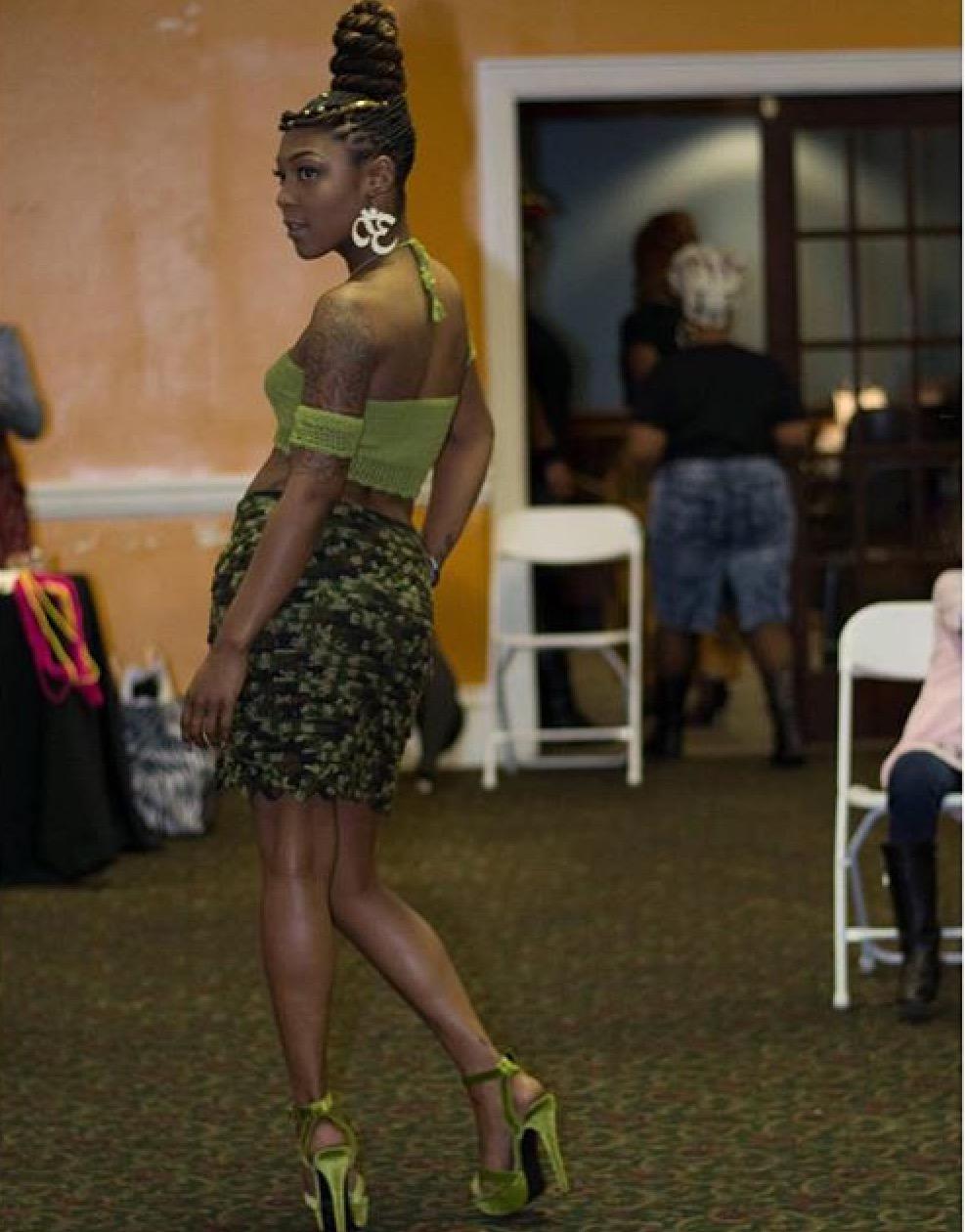 Crocheted Halter - & Camouflage Mini Skirt