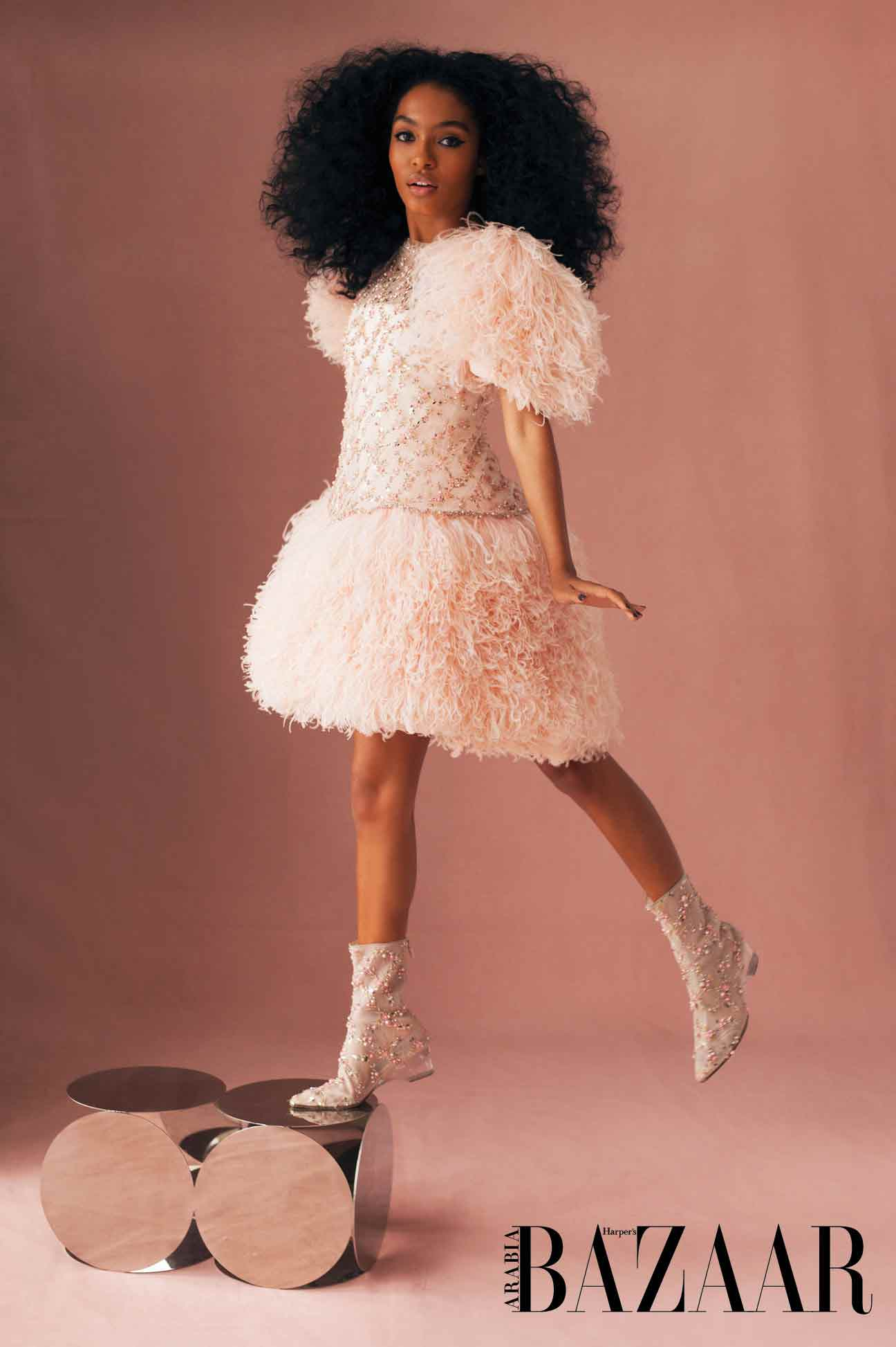 - Pink mini satin dress with embroidered tulle and feathers, and boots, both Chanel Haute Couture S/S18
