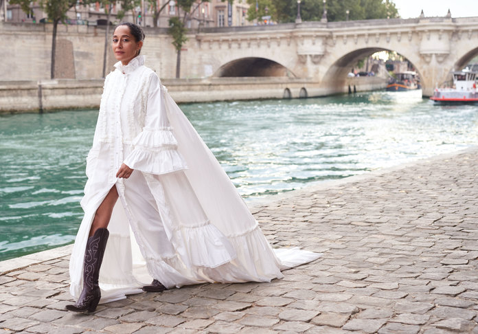 Gucci gown. A.W.A.K.E. boots.