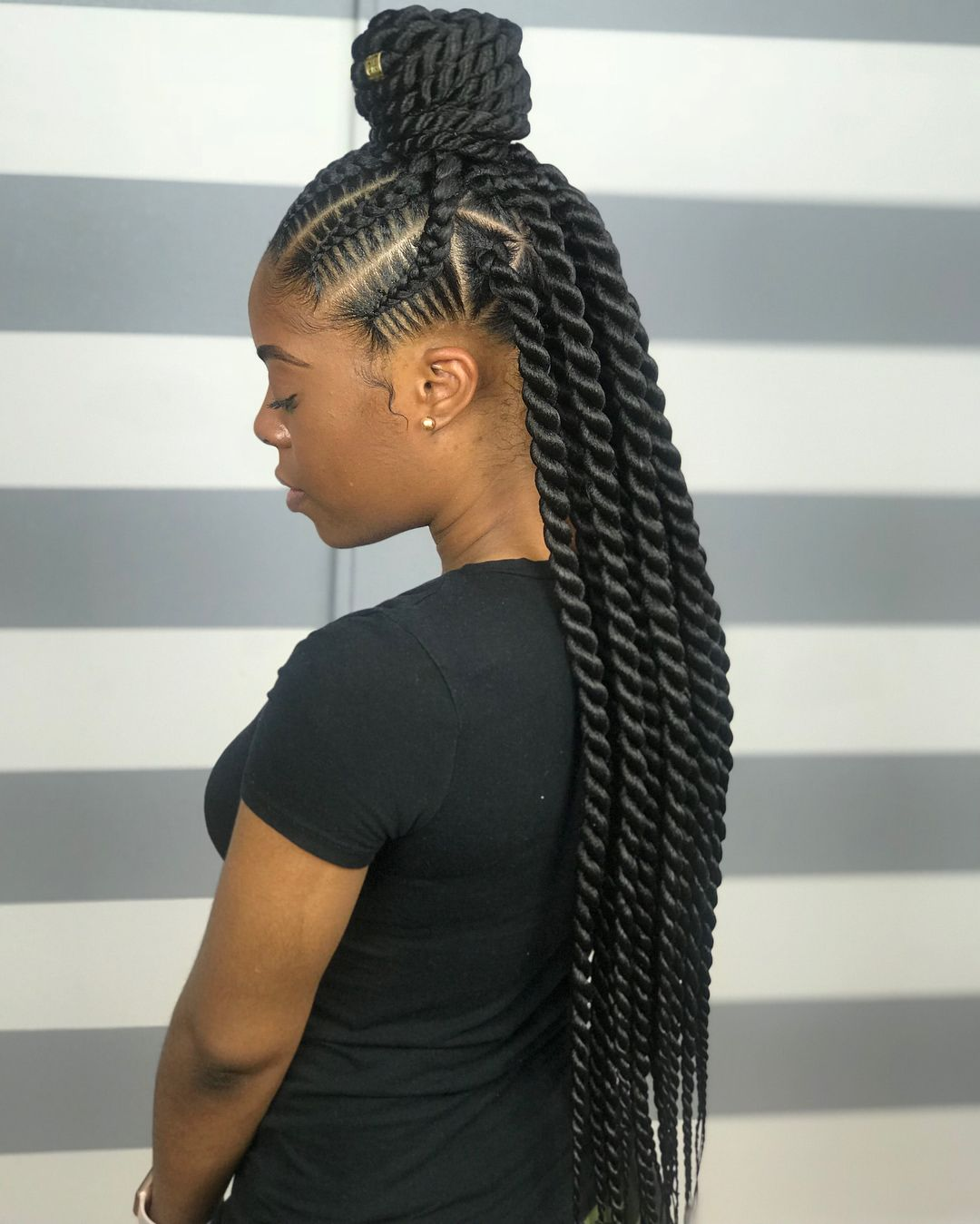 - Stitch Braids w/ Jumbo Senegalese TwistsPhoto Courtesy of Pinterest