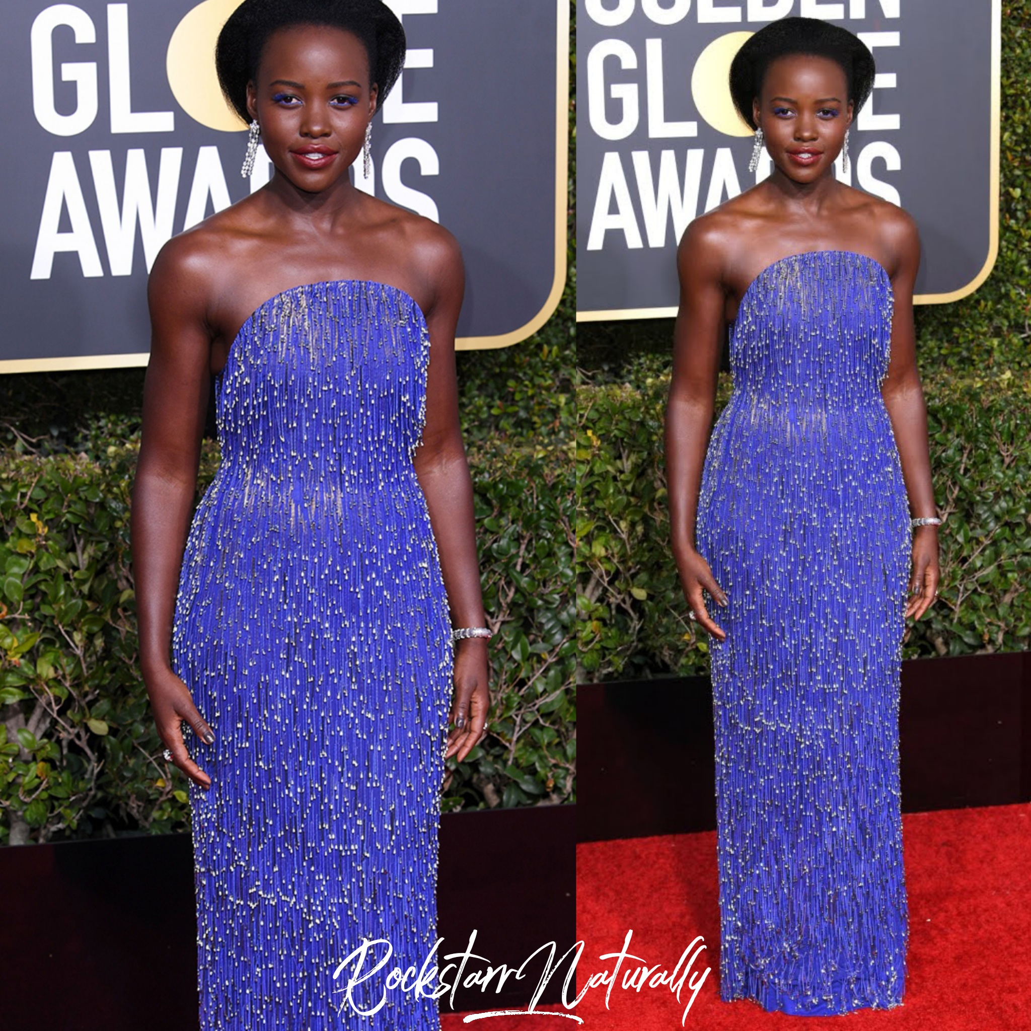 - Lupita NYong'o is wearing Calvin Klein by Appointment & Bvlgari jewels