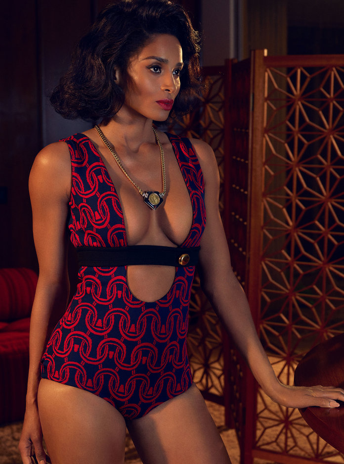 - Ciara in a Prada bodysuit and a vintage Bulgari necklace from Beladora