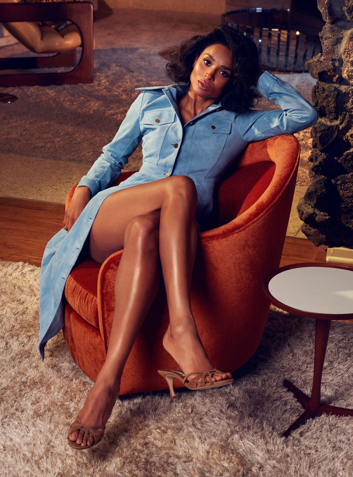 - Ciara in a Michael Kors Collection trenchcoat, aTiffany & Co. ring, andManolo Blahnik sandals.
