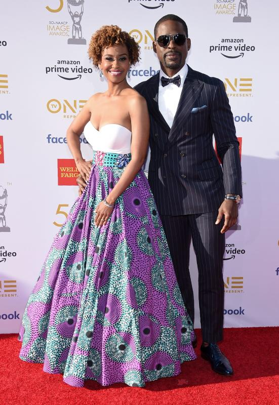50TH NAACP IMAGE AWARDS RED CARPET 2019 STERLING K BROWN AND RYAN MICHELLE BATHE.jpg