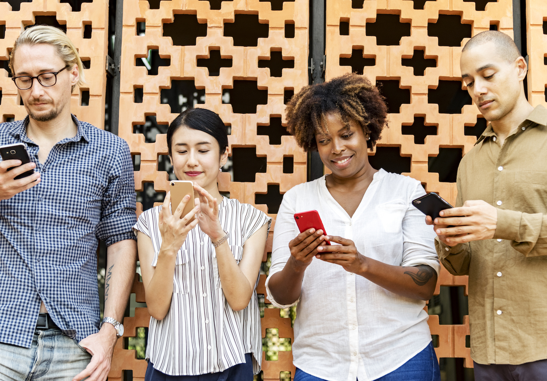 Team Using Smartphones