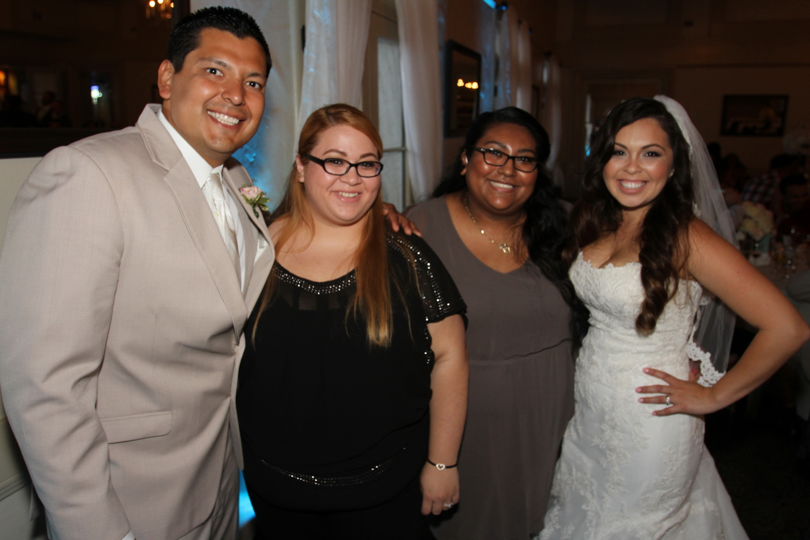 Jorge and Nancy with their coordinators Angela and Silvia from  Rock n' Willow Events