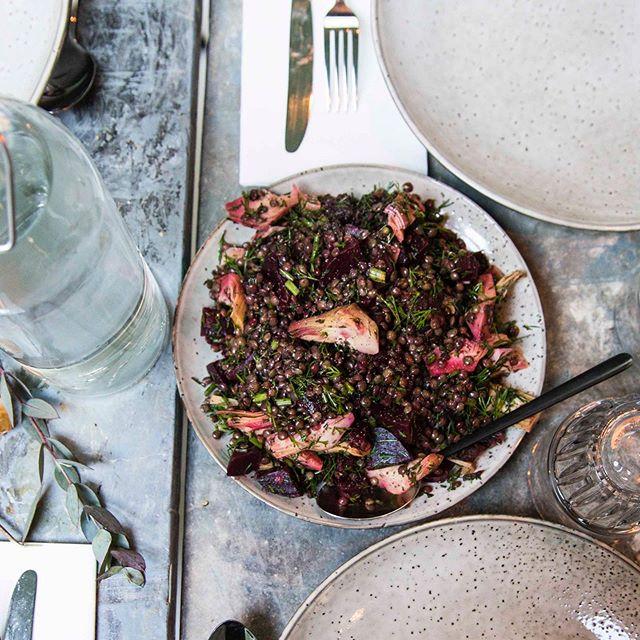 Simplicity. Recipe courtesy of the lovely @emilyledeboer Speckled lentils, artichoke hearts, beetroot, dill, extra v. olive oil. Delish 😋