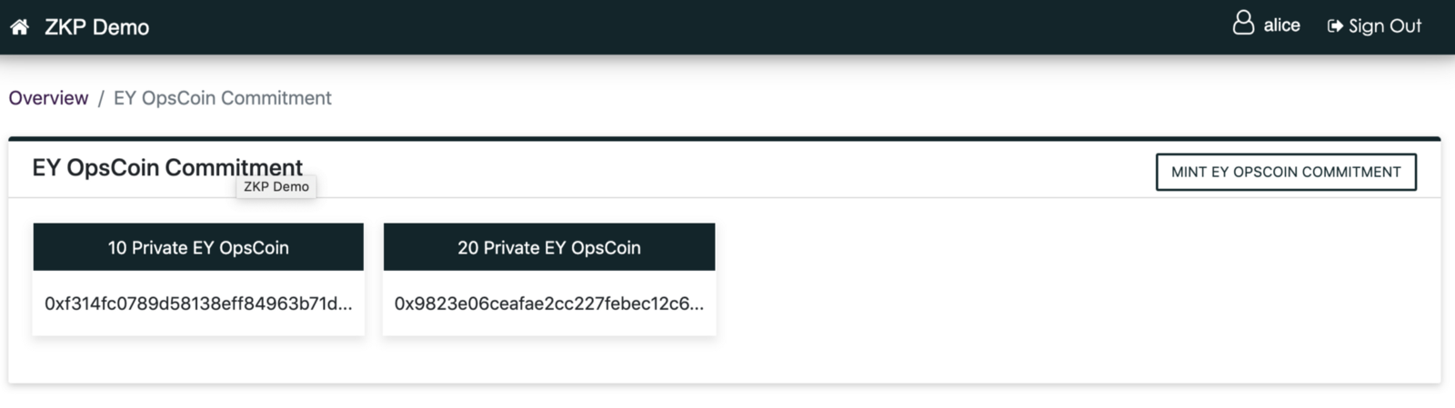 Two OpsCoin token Commitments (hidden tokens)