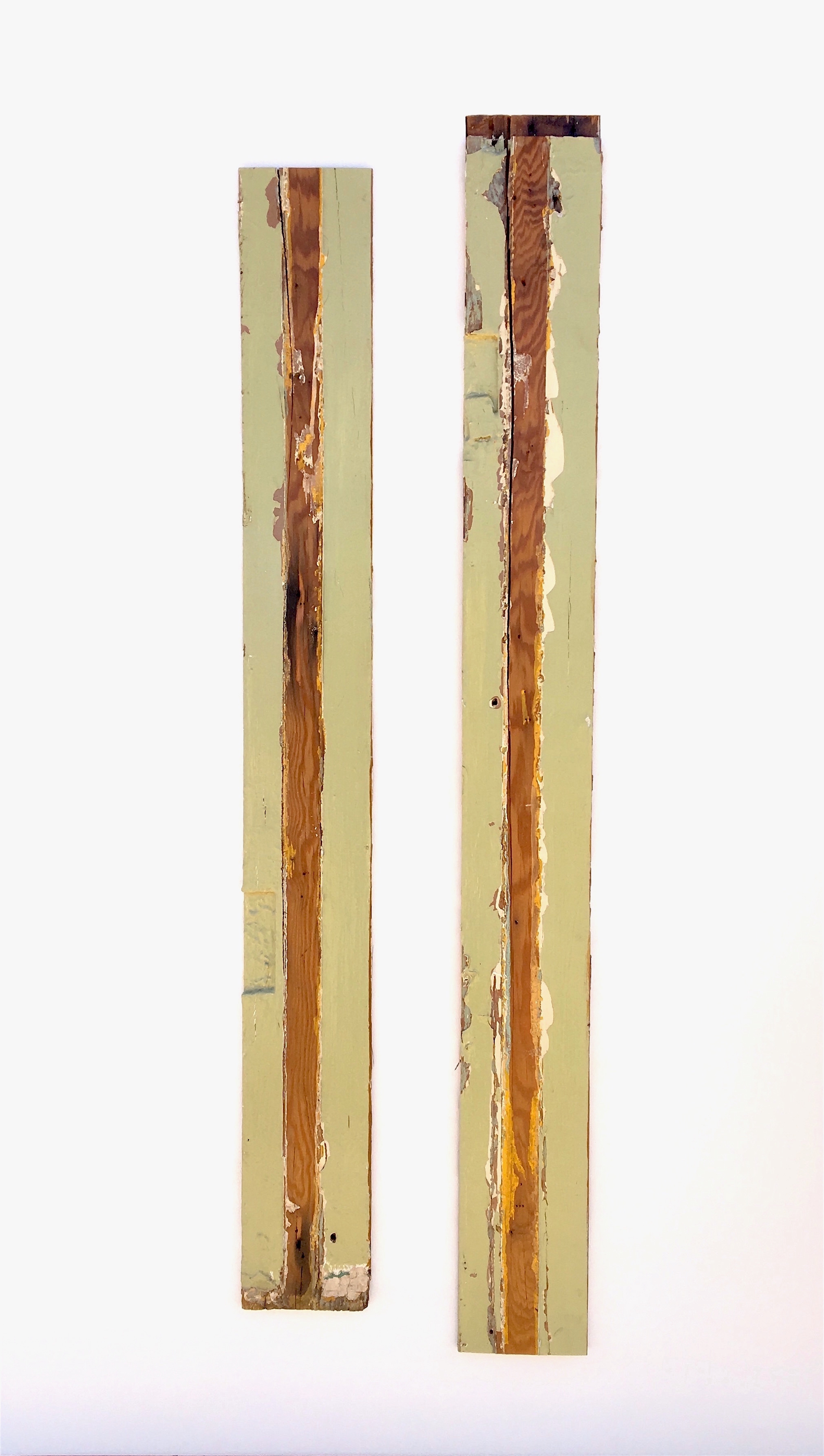 "Chris Zickefoose,  Less Than, Greater Than, or Equal To,  2018, Found wood inlayed into painted plywood, 48"" x 28"""
