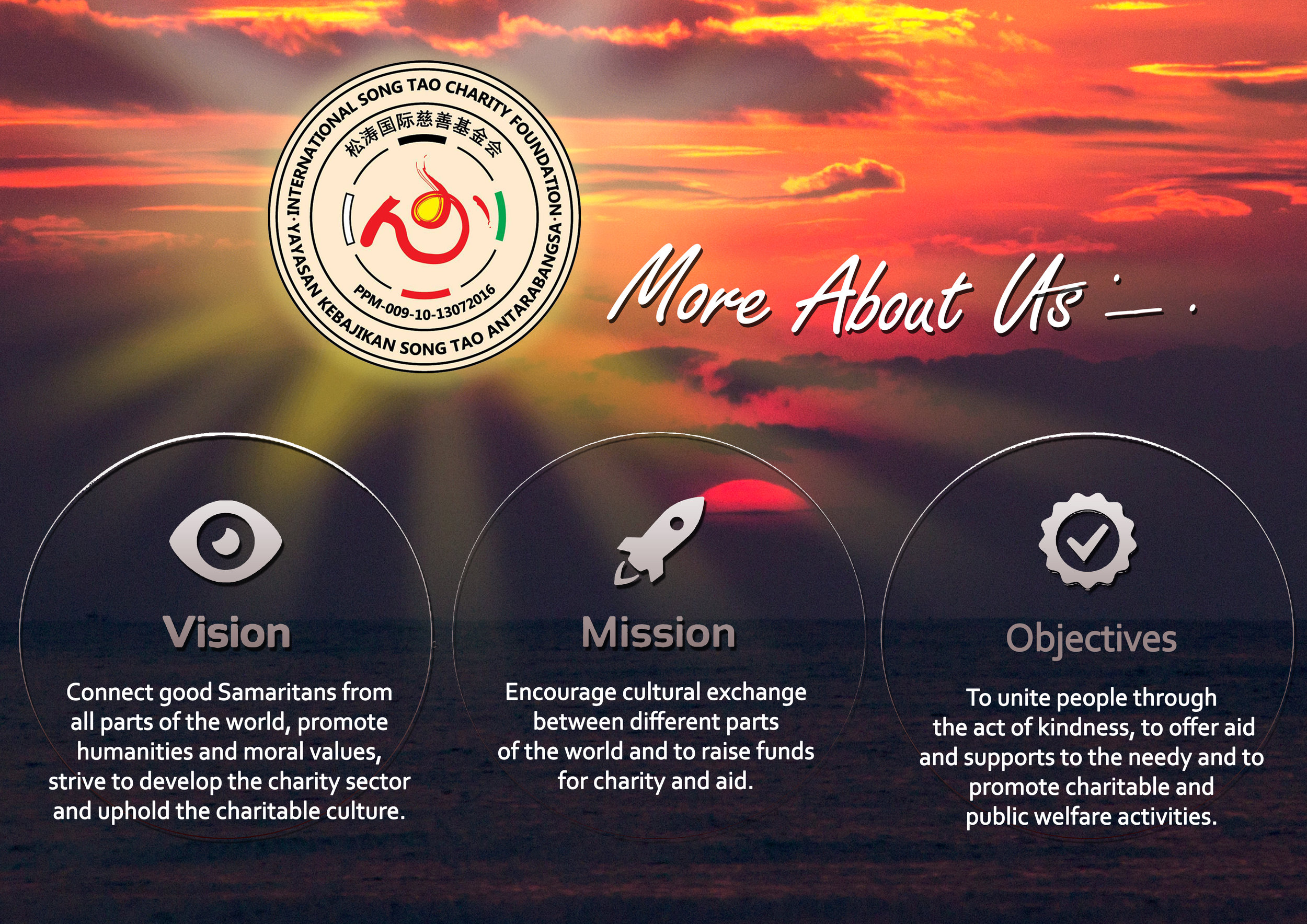 Our Vision, Mission and Objectives of International Song Tao Charity Foundation.