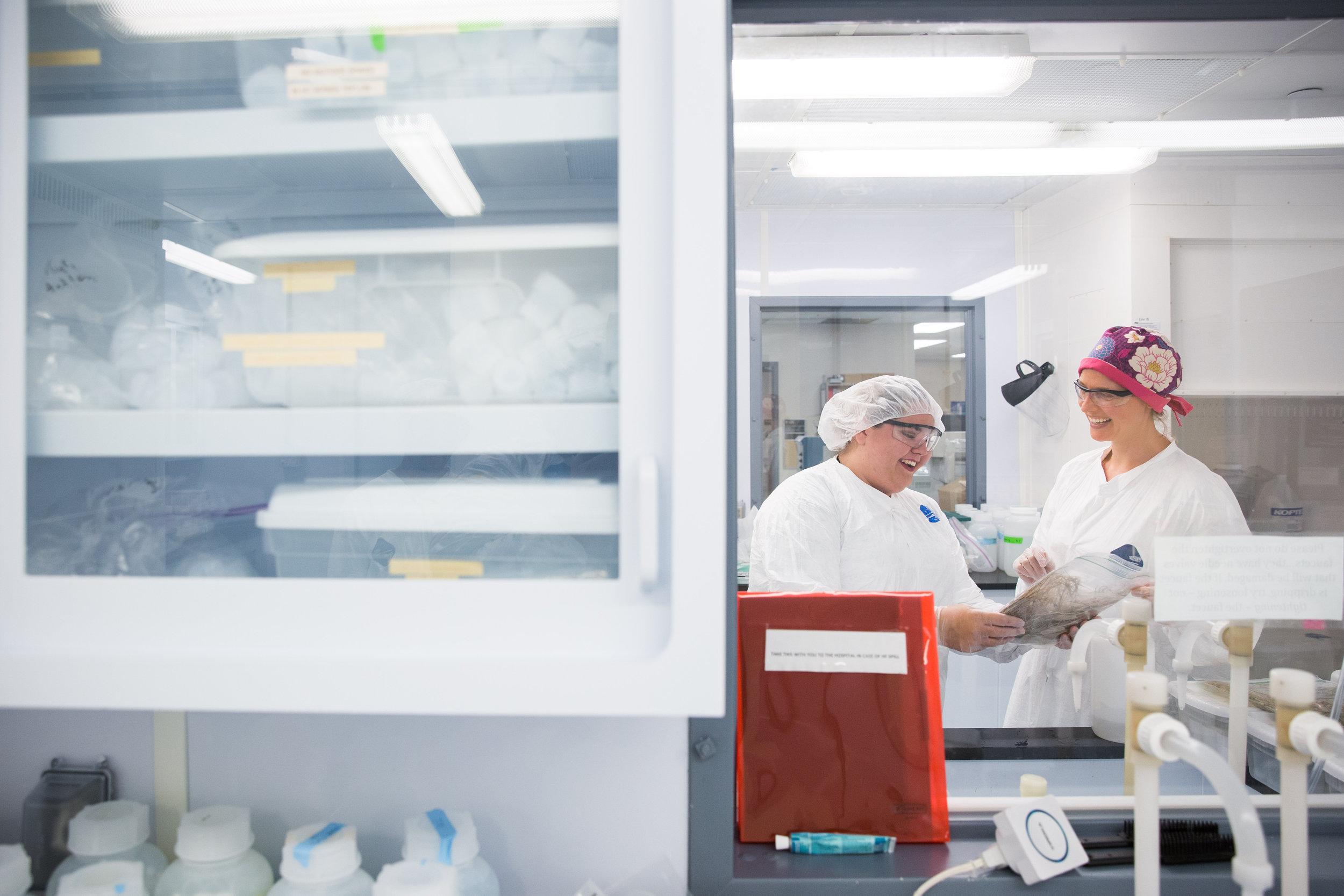 PhD student Alyssa Sherry and Alice Letcher assess samples in the KFLEB clean lab