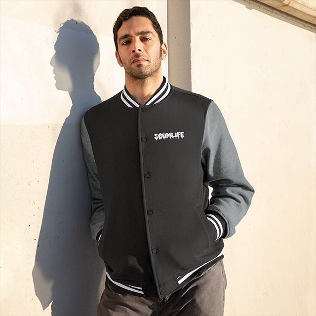 All NEW SCUMLIFE - MEN'S VARSITY JACKET Available Now! | ScumlifeMerch.com  Regular price $75.00  Classic and comfortable, re-live your glory years with this Mens Varsity Jacket! Weighing just 9 ounces and coming in a variety of colors these coats can make your return to you 10 or even 20 year reunion that much more stylish and memorable!