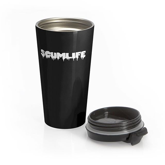 #NEW SCUMLIFE- STAINLESS STEEL TRAVEL MUG Available Now! | ScumlifeMerch.com  Regular price $25.00  Irreplaceable item for a busy everyday life, this stainless steel mug will keep drinks at the right temperature for hours on the go. High quality sublimation printing makes it an appreciated gift to every true coffee or tea lover.
